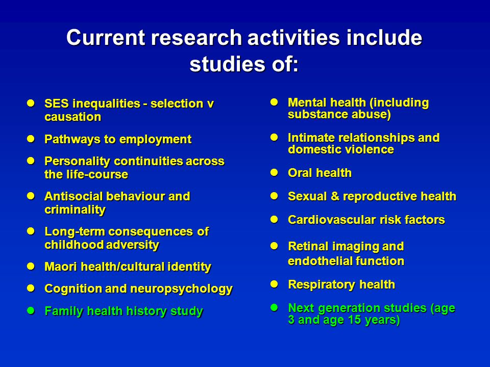 Current research activities include studies of: SES inequalities - selection v causation SES inequalities - selection v causation Pathways to employme