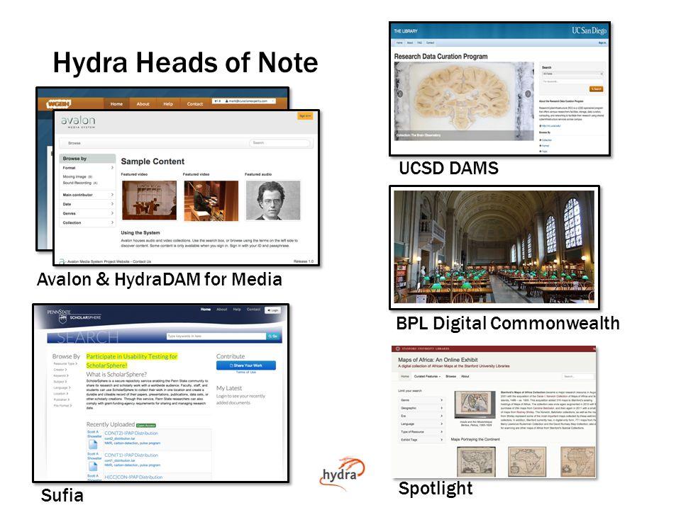 Hydra Heads of Note Avalon & HydraDAM for Media Sufia BPL Digital Commonwealth UCSD DAMS Spotlight
