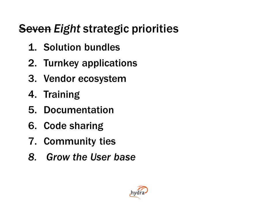 Seven Eight strategic priorities 1.Solution bundles 2.Turnkey applications 3.Vendor ecosystem 4.Training 5.Documentation 6.Code sharing 7.Community ties 8.