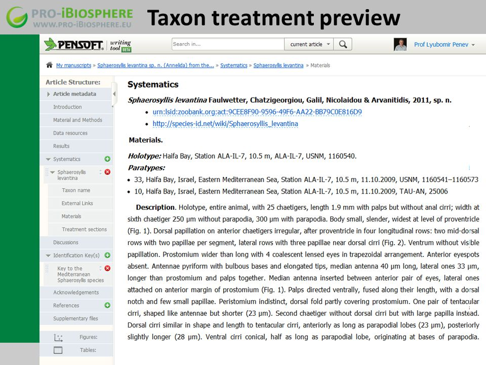 Taxon treatment preview