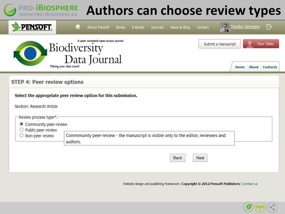 Authors can choose review types