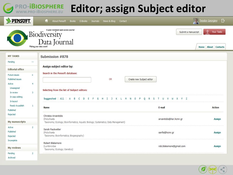 Editor; assign Subject editor