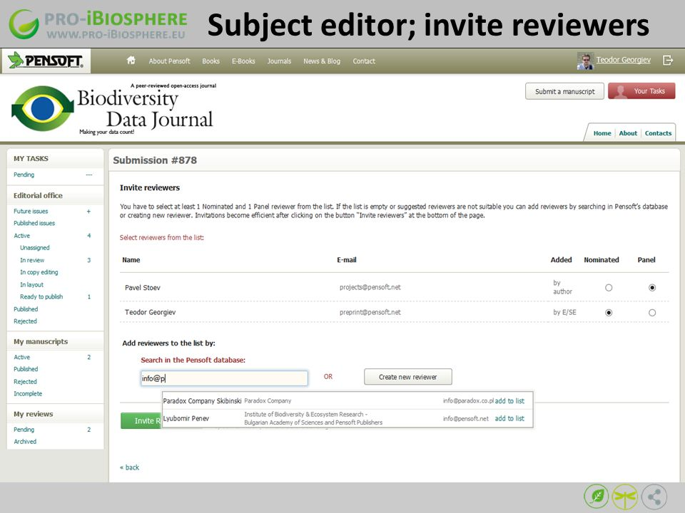 Subject editor; invite reviewers