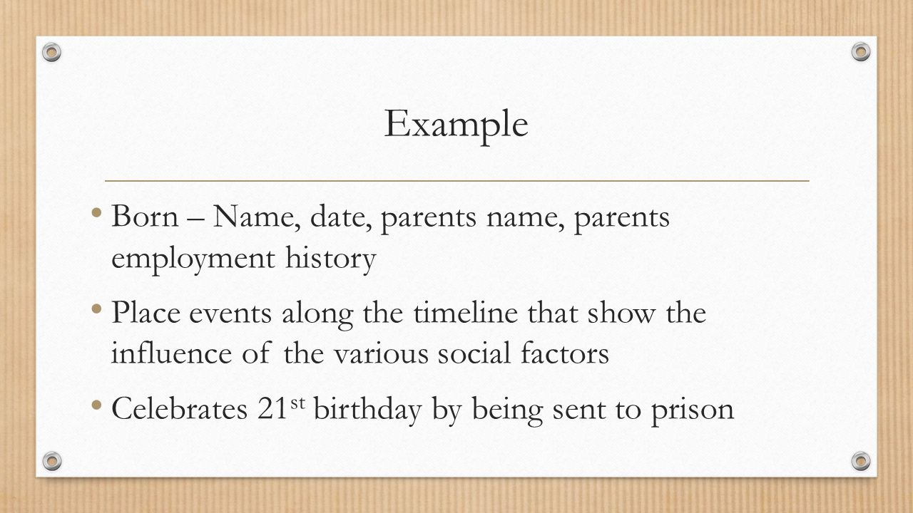 Example Born – Name, date, parents name, parents employment history Place events along the timeline that show the influence of the various social factors Celebrates 21 st birthday by being sent to prison