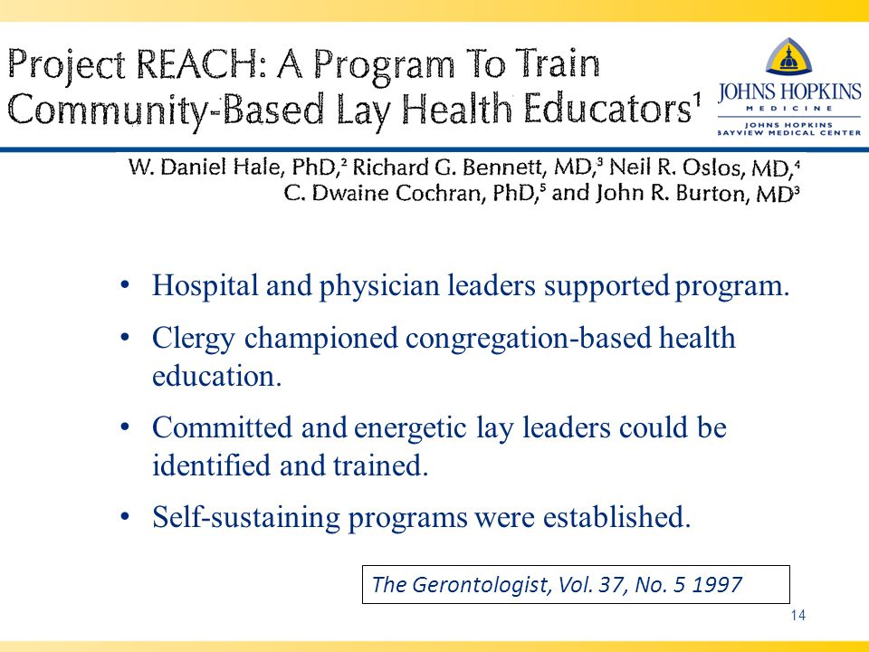 14 The Gerontologist, Vol. 37, No. 5 1997 Hospital and physician leaders supported program.