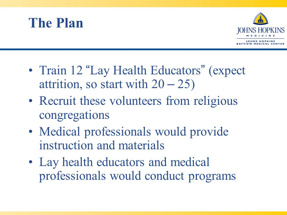 The Plan Train 12 Lay Health Educators (expect attrition, so start with 20 – 25) Recruit these volunteers from religious congregations Medical professionals would provide instruction and materials Lay health educators and medical professionals would conduct programs