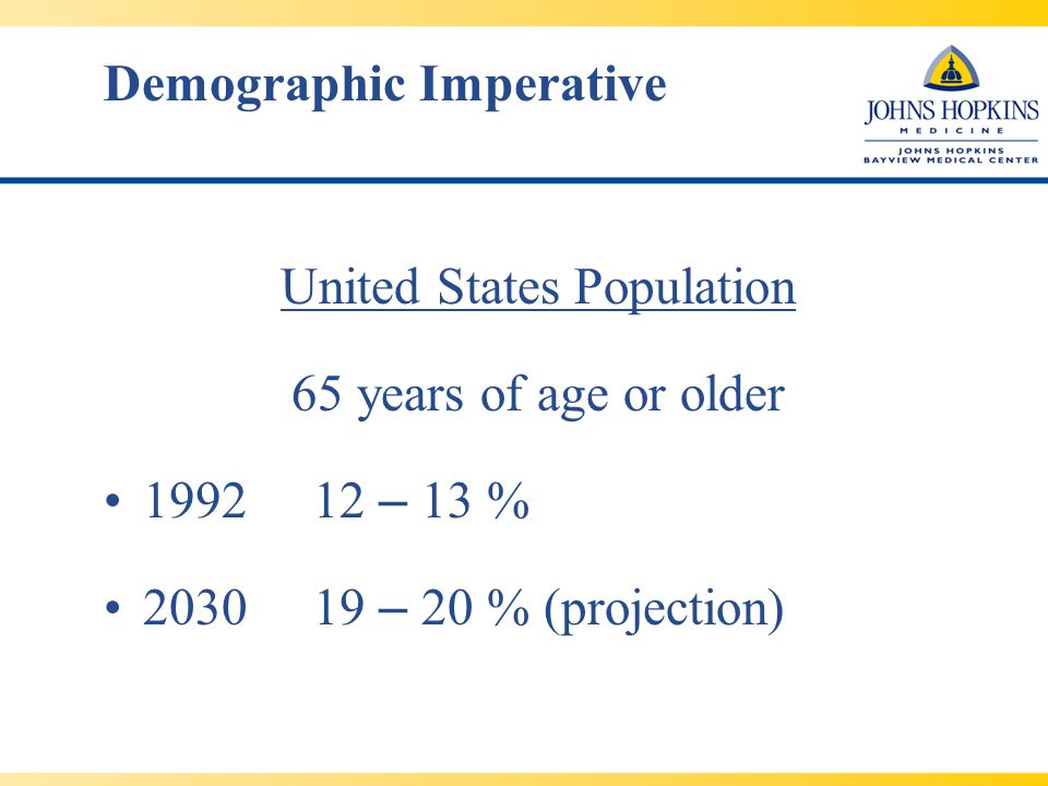 Demographic Imperative United States Population 65 years of age or older 199212 – 13 % 203019 – 20 % (projection)