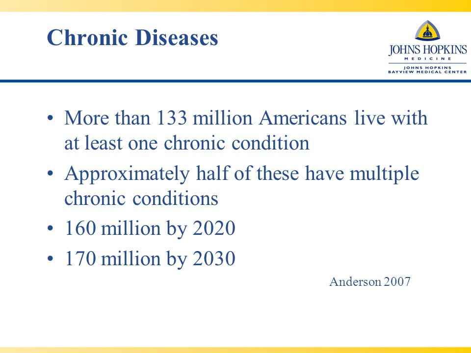 People with chronic conditions account for … 90 percent of all prescription drugs used 80 percent of all inpatient hospital stays 75 percent of all visits to physicians 85 percent of all health care expenditures Anderson 2007 Chronic diseases are the leading cause of mortality, accounting for seven out of every ten deaths.