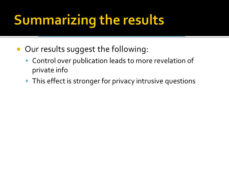  Our results suggest the following:  Control over publication leads to more revelation of private info  This effect is stronger for privacy intrusive questions