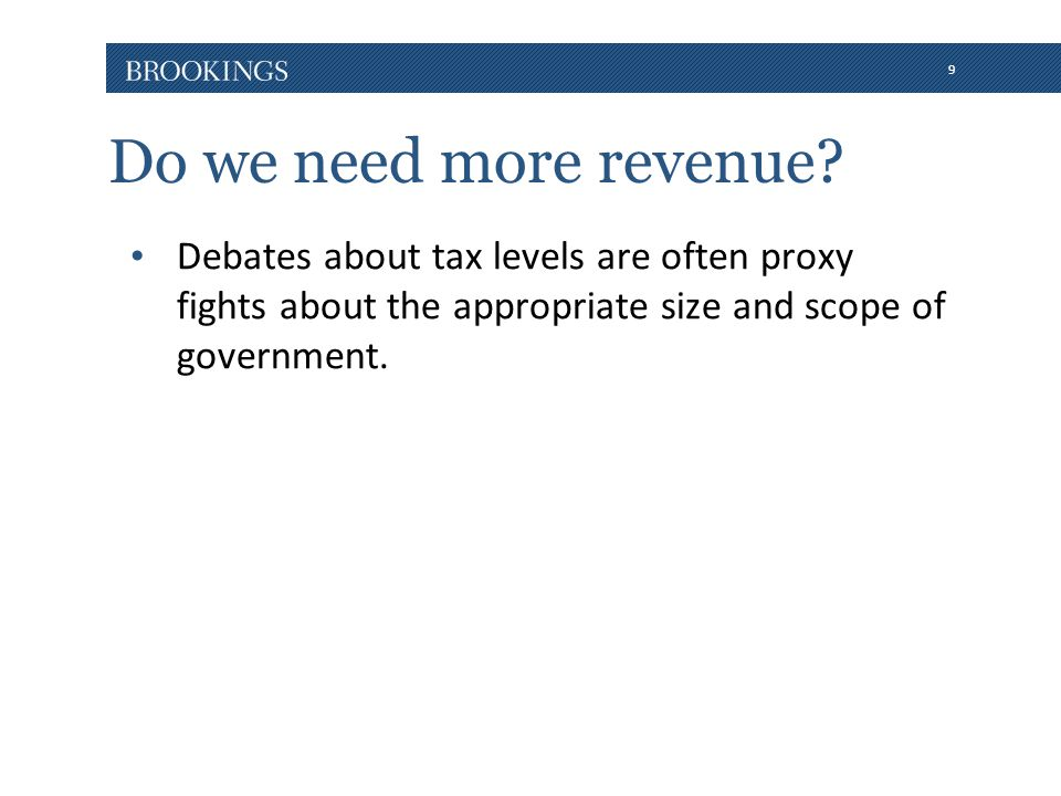 9 Do we need more revenue? Debates about tax levels are often proxy fights about the appropriate size and scope of government.