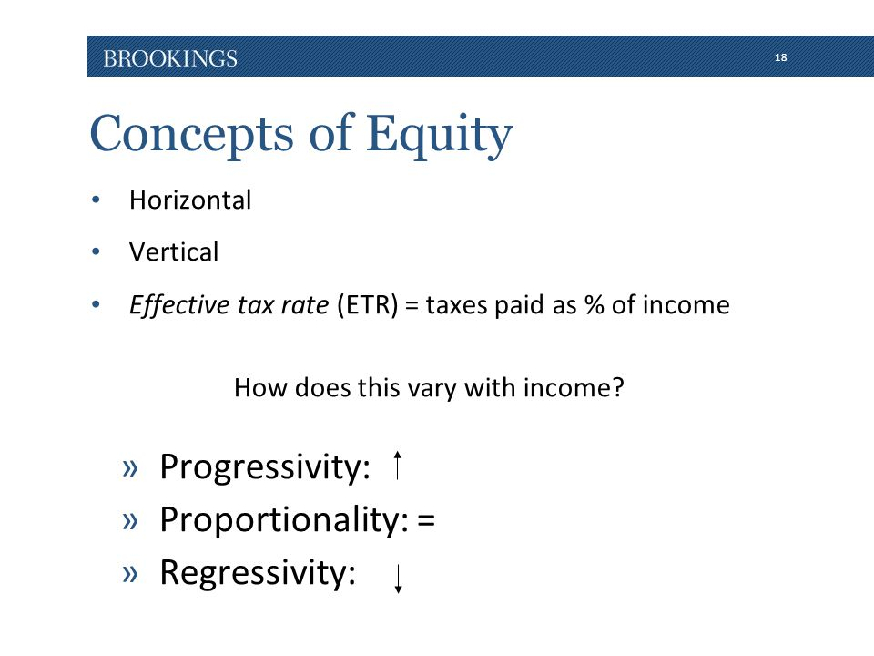 18 Concepts of Equity Horizontal Vertical Effective tax rate (ETR) = taxes paid as % of income How does this vary with income.
