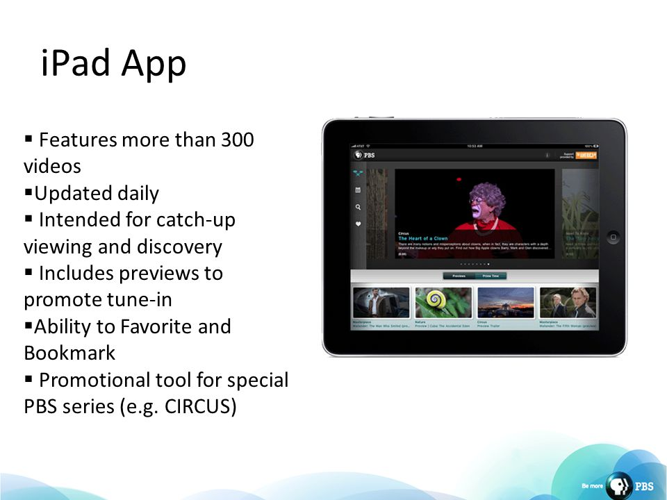 iPad App  Features more than 300 videos  Updated daily  Intended for catch-up viewing and discovery  Includes previews to promote tune-in  Abilit