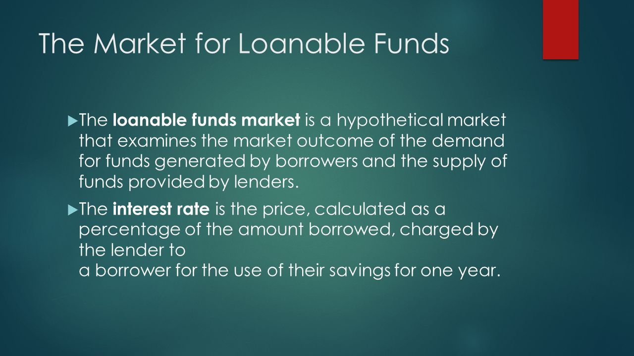 The Market for Loanable Funds  The loanable funds market is a hypothetical market that examines the market outcome of the demand for funds generated by borrowers and the supply of funds provided by lenders.
