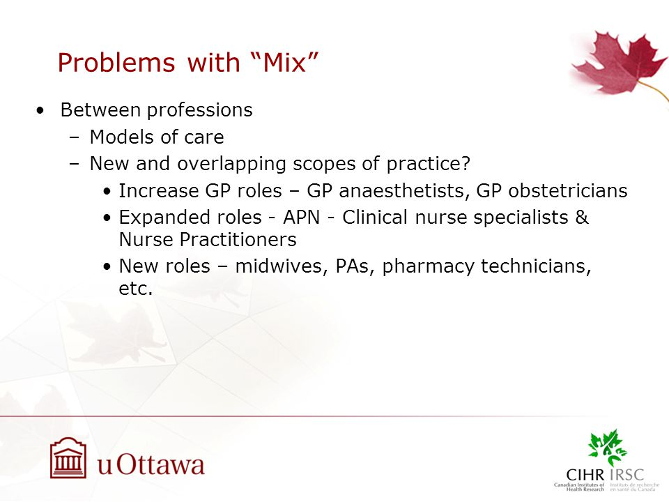 Problems with Mix Between professions –Models of care –New and overlapping scopes of practice.