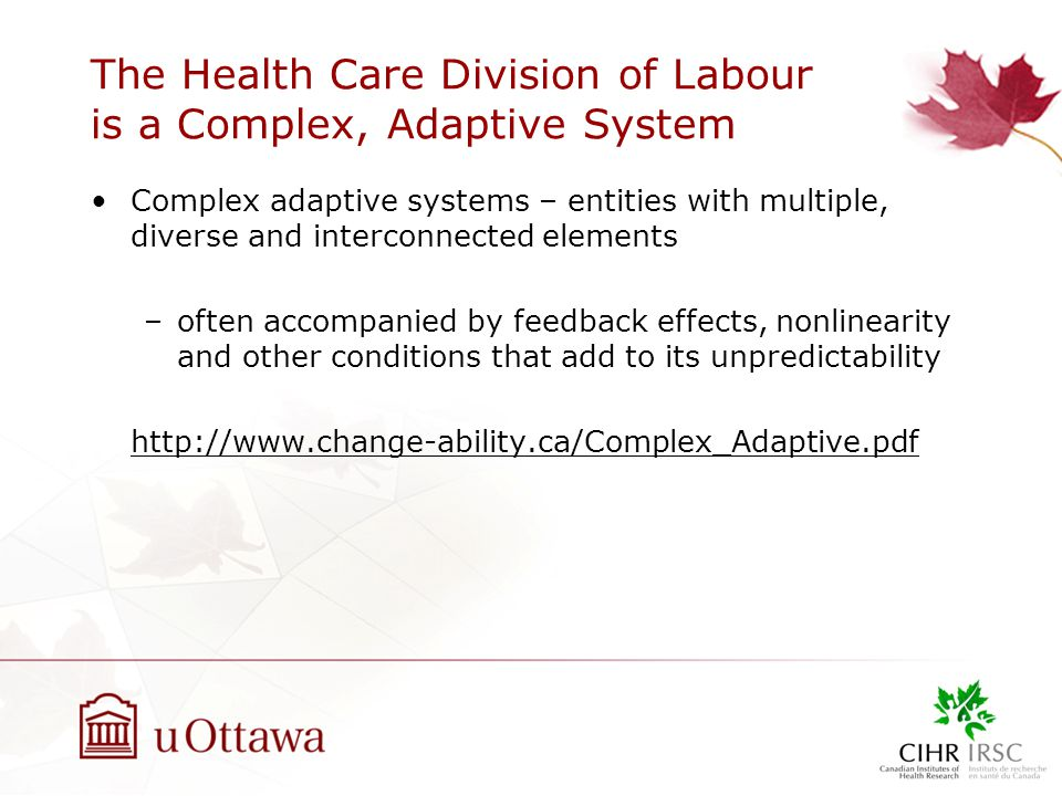 The Health Care Division of Labour is a Complex, Adaptive System Complex adaptive systems – entities with multiple, diverse and interconnected elements –often accompanied by feedback effects, nonlinearity and other conditions that add to its unpredictability http://www.change-ability.ca/Complex_Adaptive.pdf