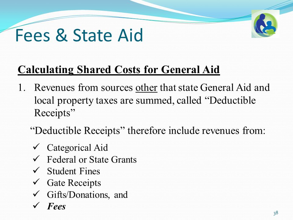 "Calculating Shared Costs for General Aid 1.Revenues from sources other that state General Aid and local property taxes are summed, called ""Deductible"