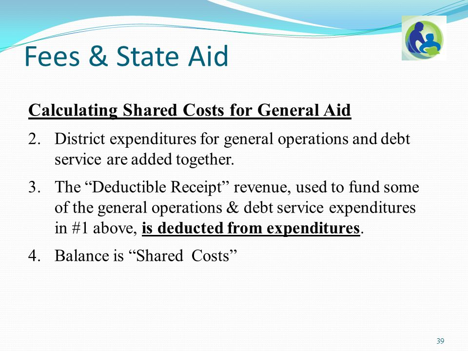 "Calculating Shared Costs for General Aid 2.District expenditures for general operations and debt service are added together. 3.The ""Deductible Receipt"
