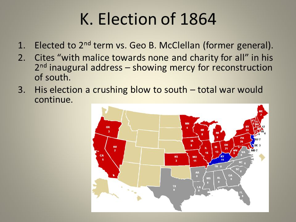 K. Election of 1864 1.Elected to 2 nd term vs. Geo B.