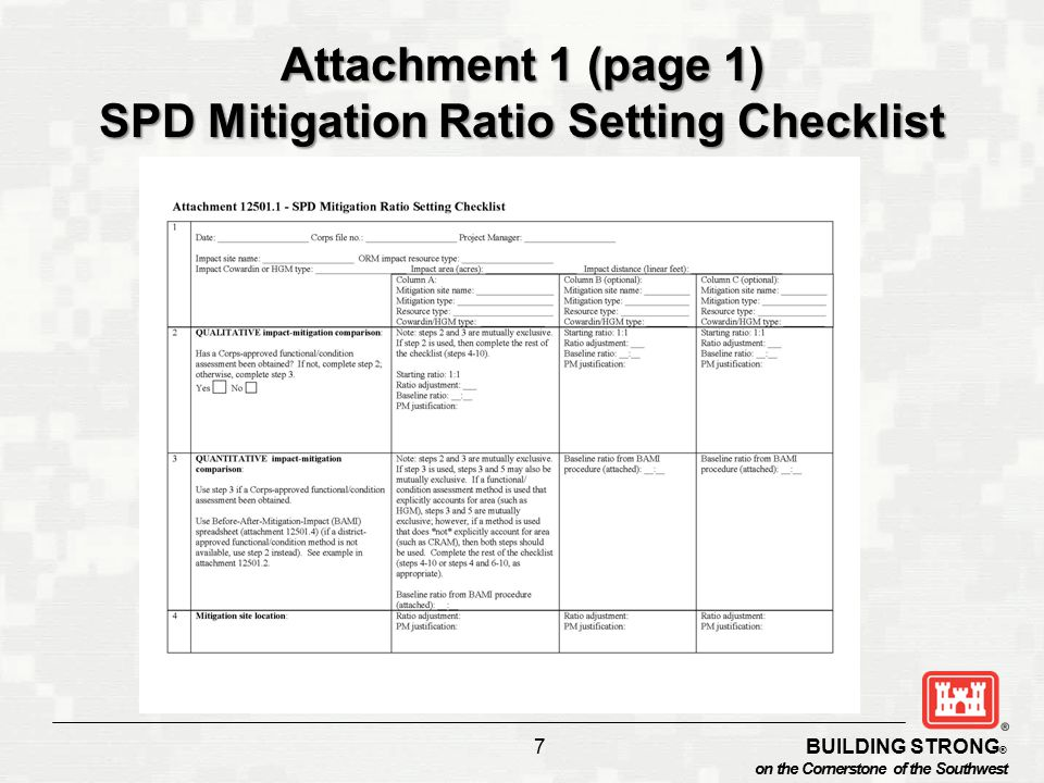 BUILDING STRONG ® on the Cornerstone of the Southwest Attachment 1 (page 1) SPD Mitigation Ratio Setting Checklist 7