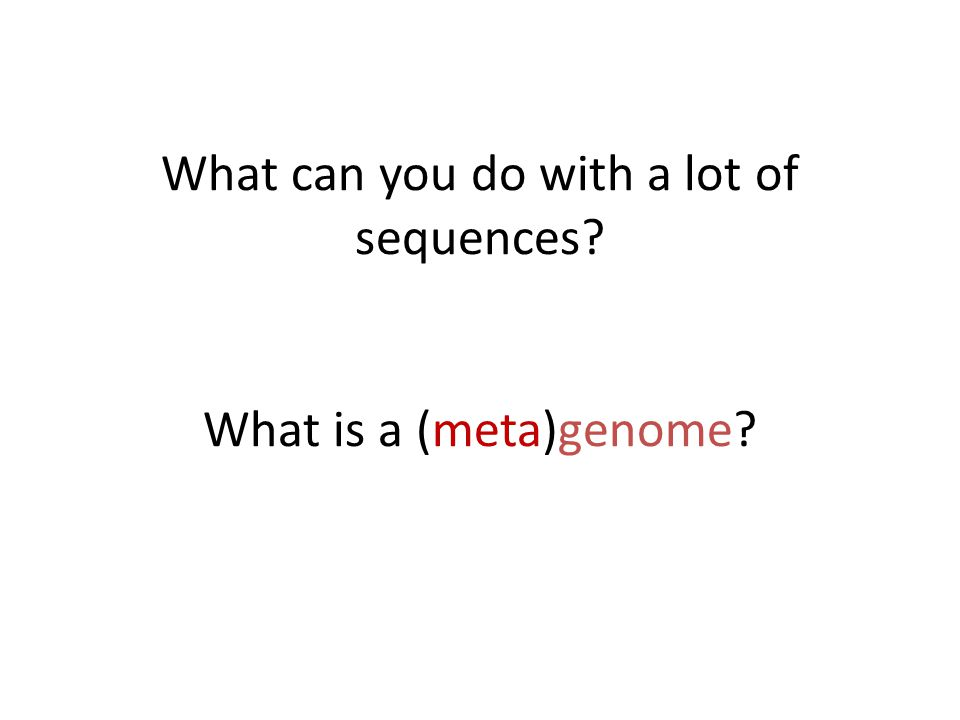 What can you do with a lot of sequences What is a (meta)genome