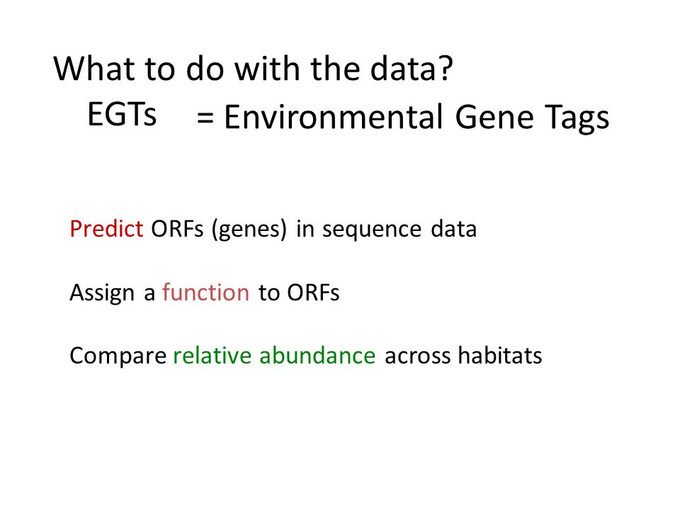 = Environmental Gene Tags Predict ORFs (genes) in sequence data Assign a function to ORFs Compare relative abundance across habitats What to do with the data.