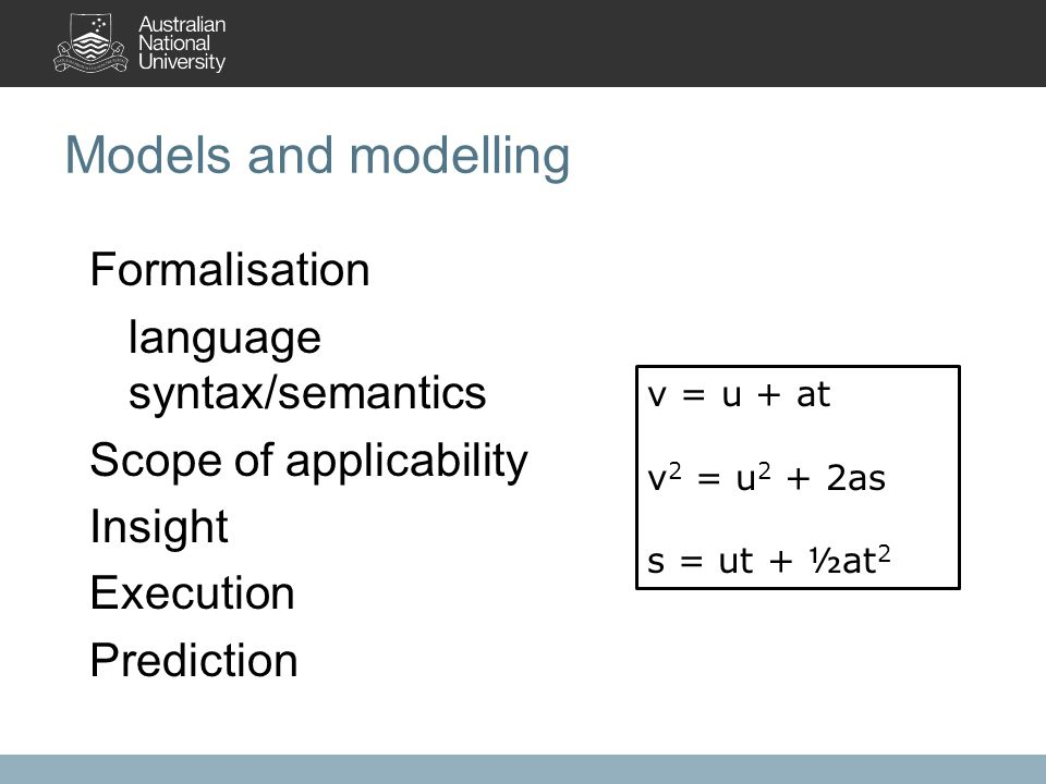 Models and modelling Formalisation language syntax/semantics Scope of applicability Insight Execution Prediction CH 4 + 2 O 2 -> CO 2 + 2 H 2 O