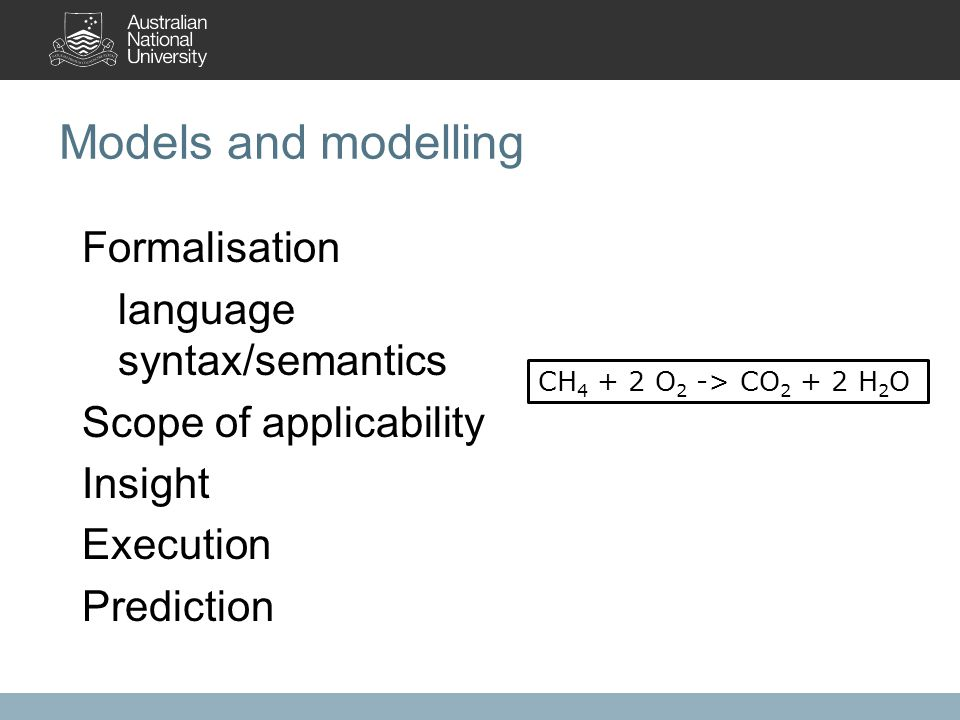 Models and modelling Formalisation language syntax/semantics Scope of applicability Insight Execution Prediction