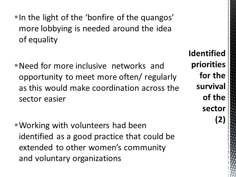  In the light of the 'bonfire of the quangos' more lobbying is needed around the idea of equality  Need for more inclusive networks and opportunity to meet more often/ regularly as this would make coordination across the sector easier  Working with volunteers had been identified as a good practice that could be extended to other women's community and voluntary organizations