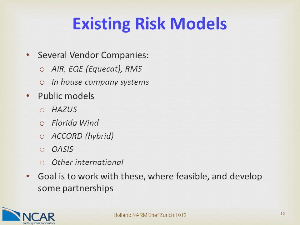Several Vendor Companies: o AIR, EQE (Equecat), RMS o In house company systems Public models o HAZUS o Florida Wind o ACCORD (hybrid) o OASIS o Other