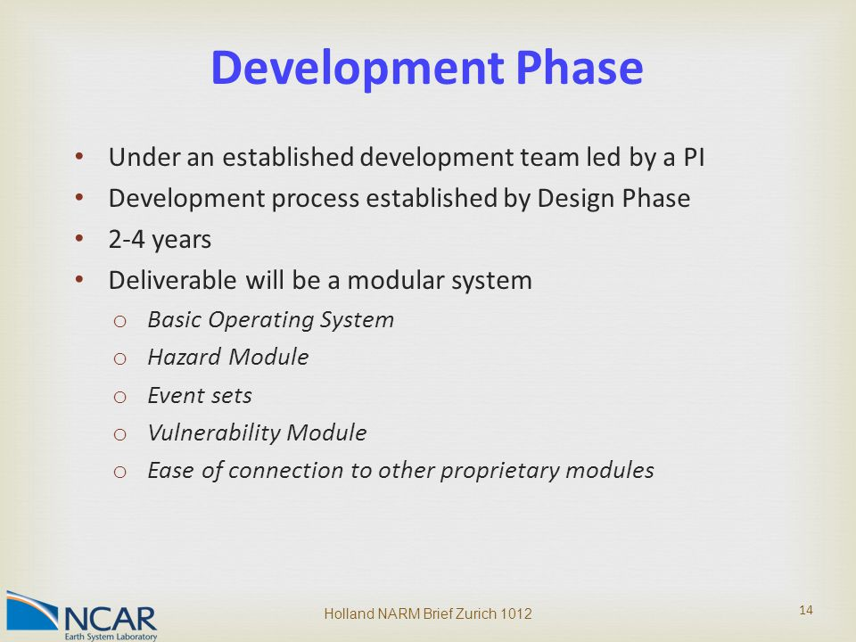 Under an established development team led by a PI Development process established by Design Phase 2-4 years Deliverable will be a modular system o Basic Operating System o Hazard Module o Event sets o Vulnerability Module o Ease of connection to other proprietary modules Holland NARM Brief Zurich 1012 14 Development Phase