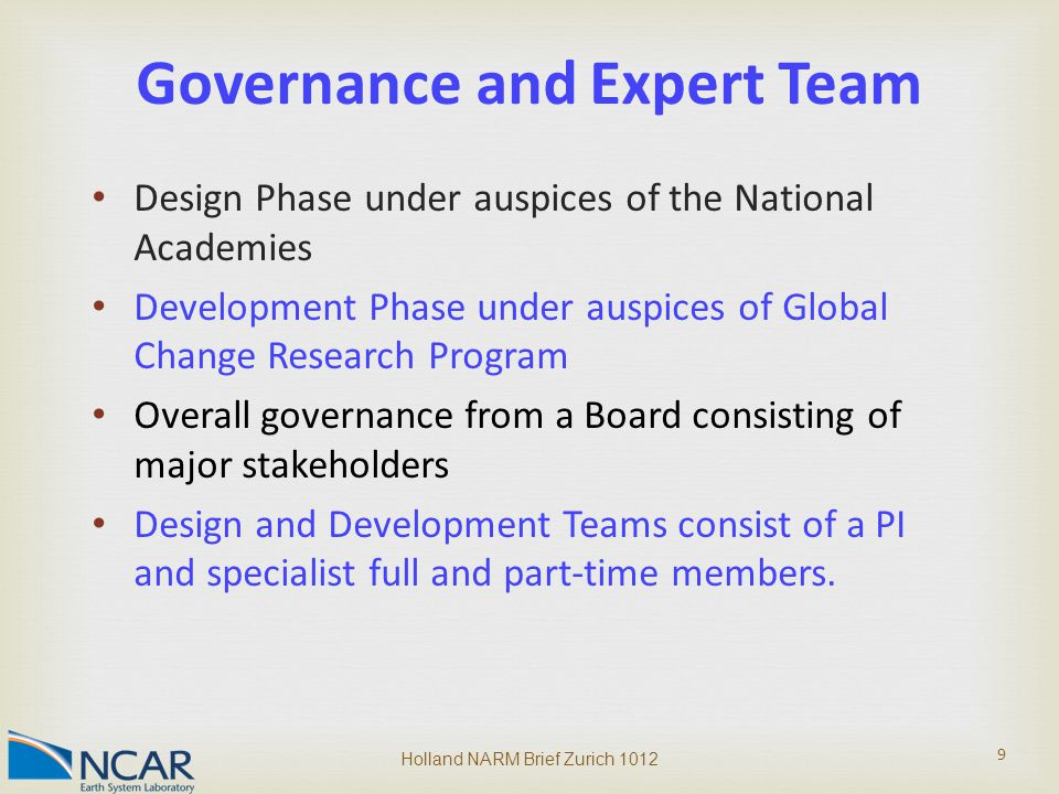 Design Phase under auspices of the National Academies Development Phase under auspices of Global Change Research Program Overall governance from a Board consisting of major stakeholders Design and Development Teams consist of a PI and specialist full and part-time members.