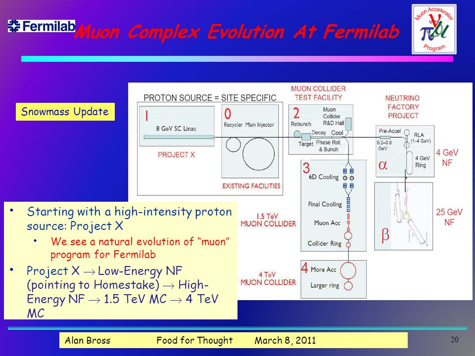 Muon Complex Evolution At Fermilab Starting with a high-intensity proton source: Project X We see a natural evolution of muon program for Fermilab Project X  Low-Energy NF (pointing to Homestake)  High- Energy NF  1.5 TeV MC  4 TeV MC 20 Snowmass Update Alan Bross Food for Thought March 8, 2011