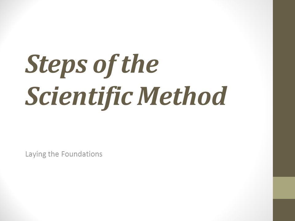 Steps of the Scientific Method Laying the Foundations