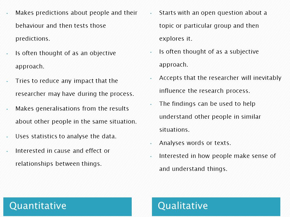 QuantitativeQualitative Makes predictions about people and their behaviour and then tests those predictions.