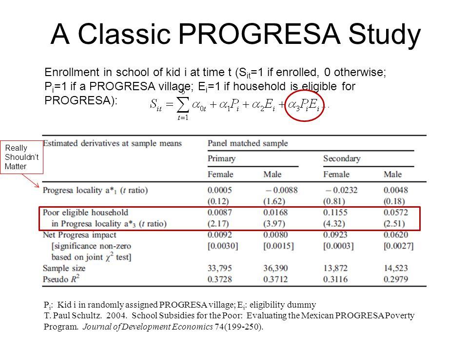 A Classic PROGRESA Study P i : Kid i in randomly assigned PROGRESA village; E i : eligibility dummy T. Paul Schultz. 2004. School Subsidies for the Po