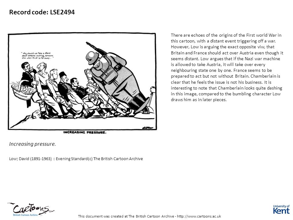 This document was created at The British Cartoon Archive - http://www.cartoons.ac.uk Record code: DL1371 No caption Low; David (1891-1963) : Evening Standard(c) The British Cartoon Archive The message is crystal clear in this source although modern students may not be familiar with the expression eating humble pie .