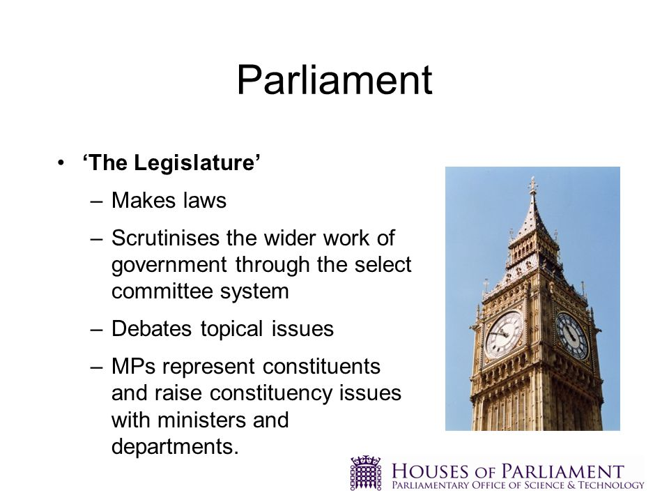 Much of what Parliament scrutinises has a science basis, although this is not widely recognised by many parliamentarians Most parliamentarians are not scientists and do not have the understanding to scrutinise evidence systematically Parliament has structures to assist MPs and peers in scrutiny of government policy and legislation, including the Science and Environment Section of the HoC Library and POST.