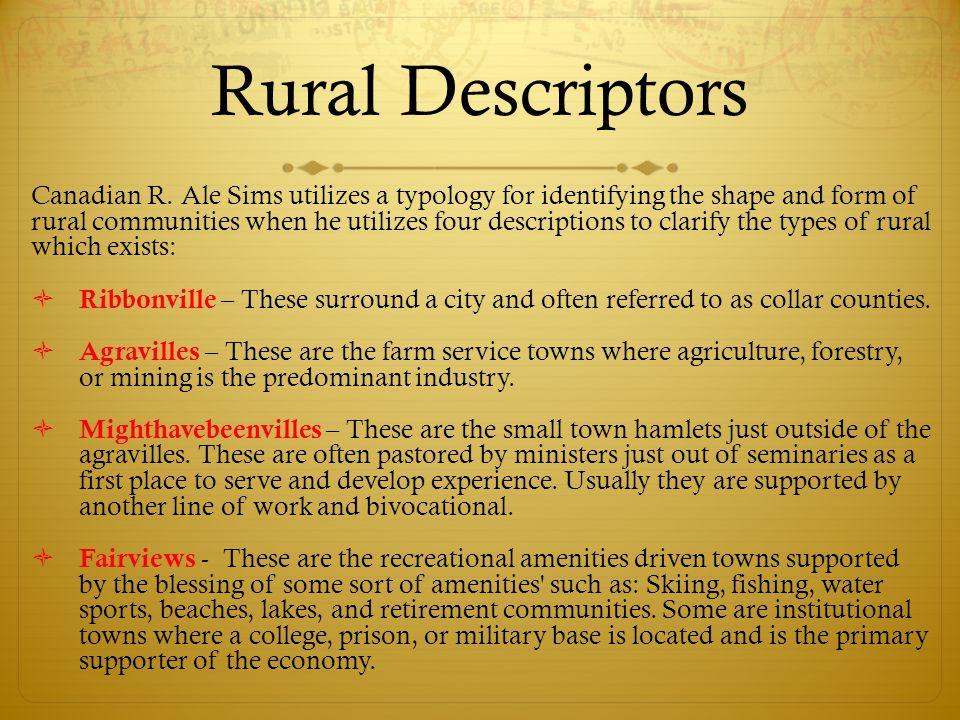 Rural Descriptors Canadian R.