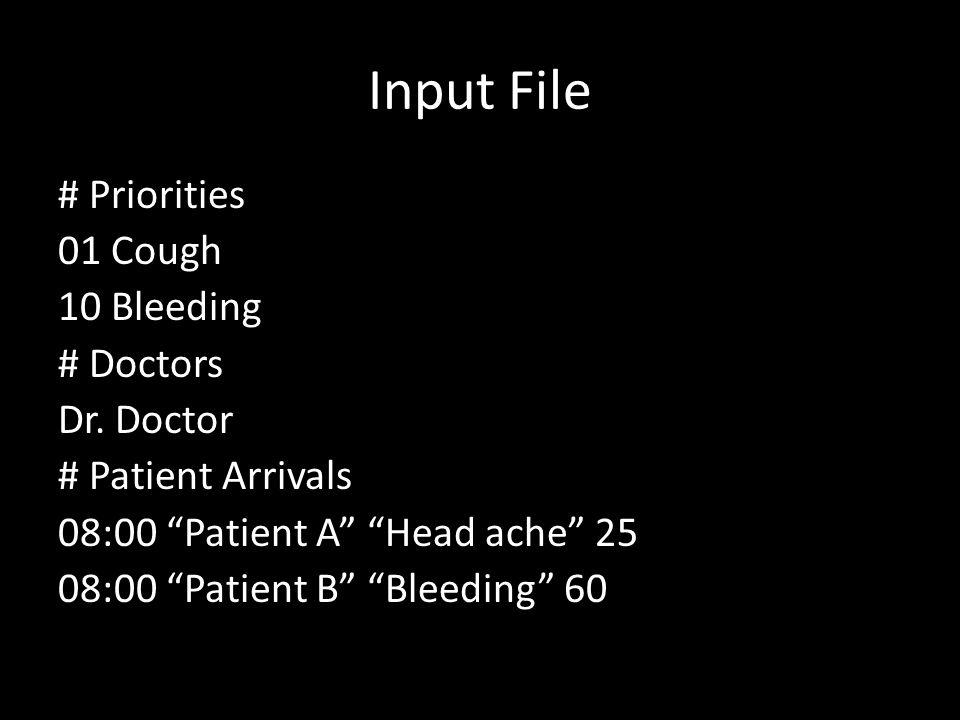 Input File # Priorities 01 Cough 10 Bleeding # Doctors Dr.