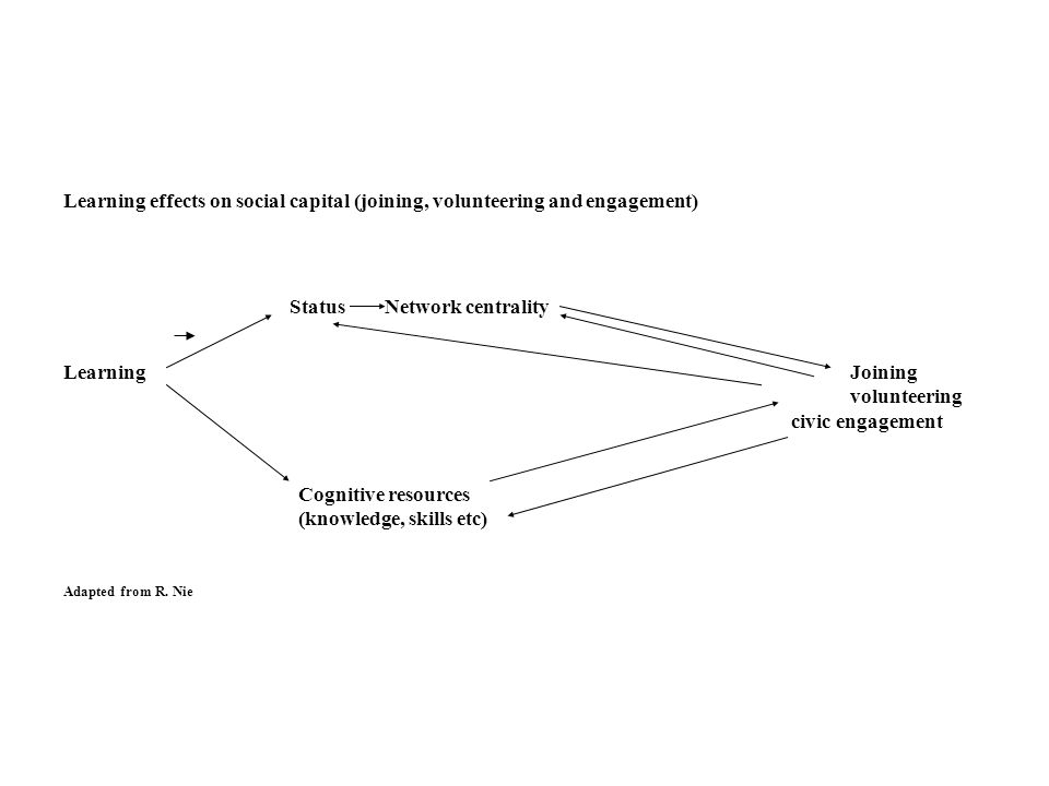 Learning effects on social capital (joining, volunteering and engagement) LearningJoining volunteering civic engagement Cognitive resources (knowledge, skills etc) Adapted from R.