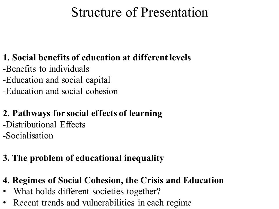 Structure of Presentation 1.