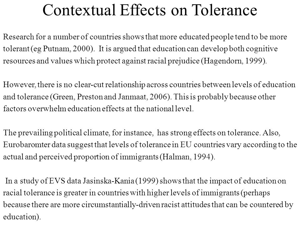 Contextual Effects on Tolerance Research for a number of countries shows that more educated people tend to be more tolerant (eg Putnam, 2000).
