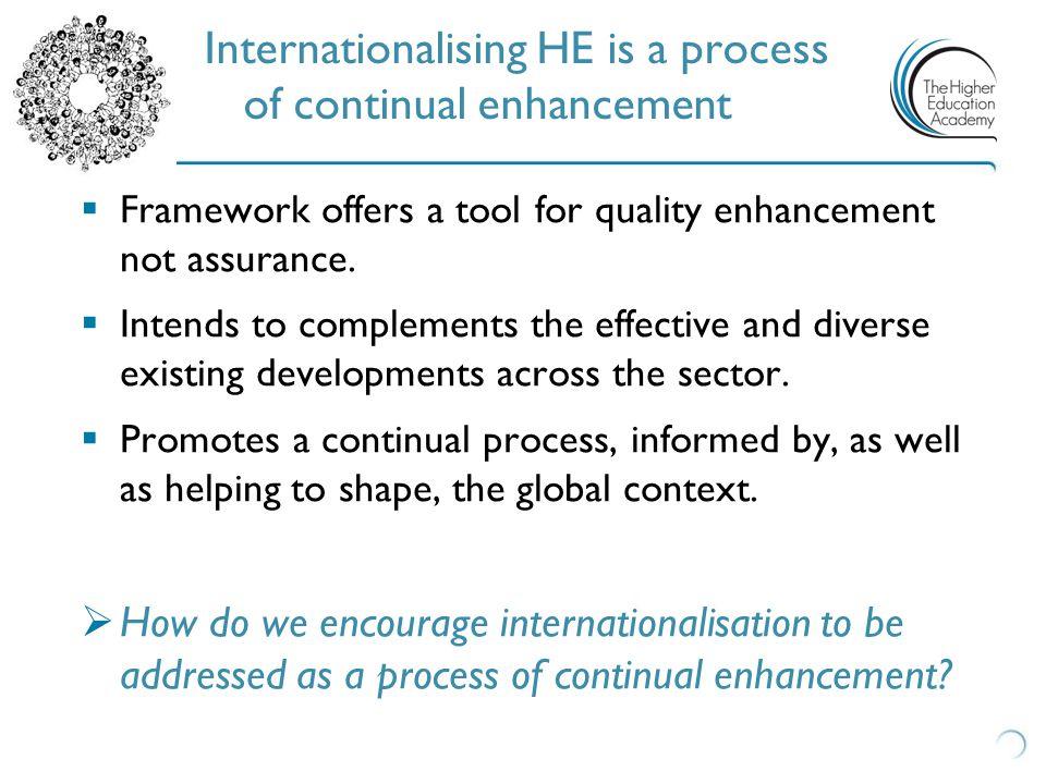  Framework offers a tool for quality enhancement not assurance.