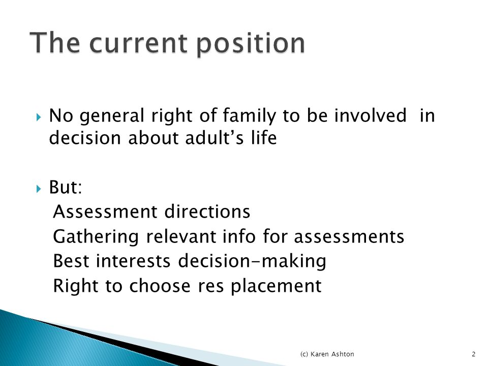  Binding  Duty to involve carers in CC assessments  And to try and reach agreement on services  When LA thinks its appropriate Assessment which does not comply - unlawful (c) Karen Ashton3
