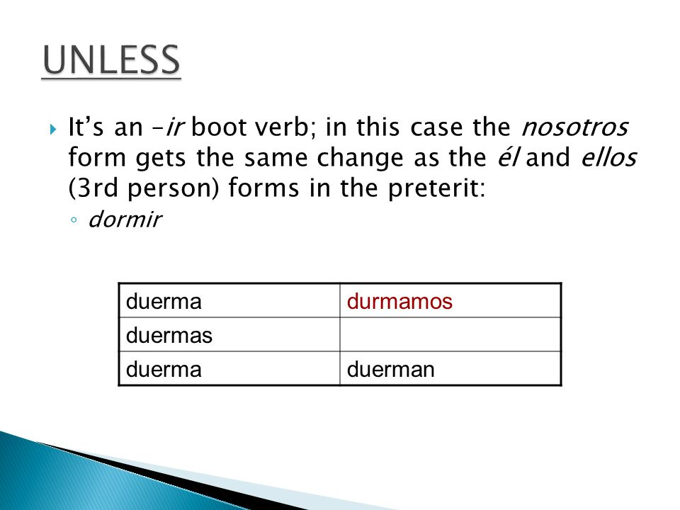  It's an –ir boot verb; in this case the nosotros form gets the same change as the él and ellos (3rd person) forms in the preterit: ◦ dormir duermadurmamos duermas duermaduerman
