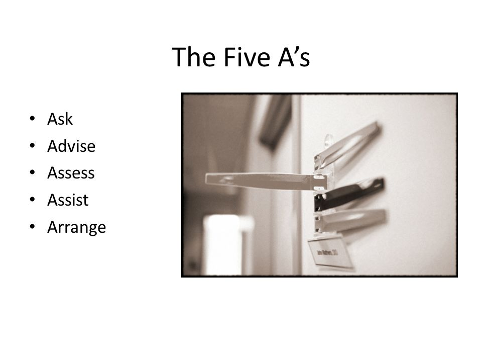 The Five A's Ask Advise Assess Assist Arrange