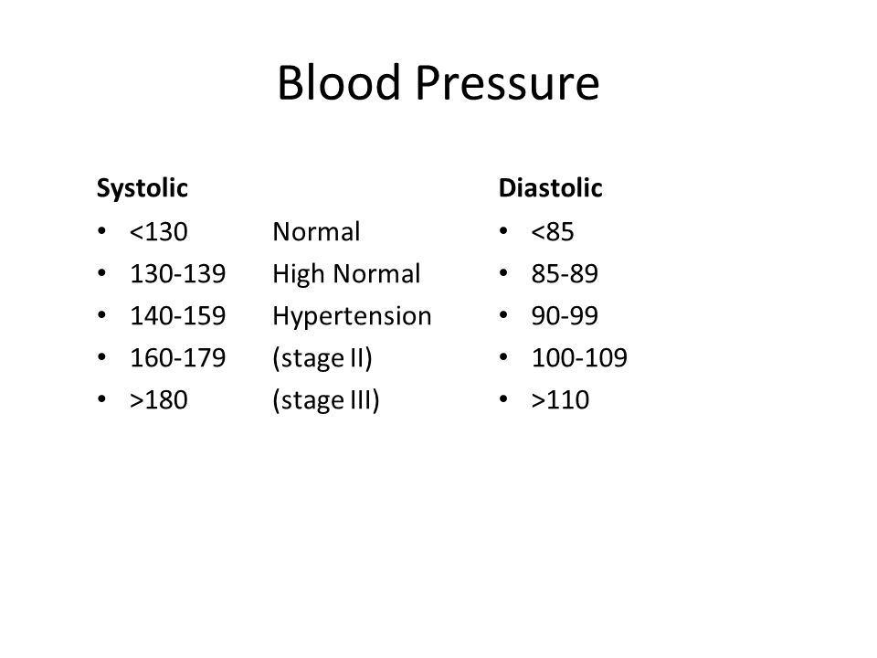 Blood Pressure Systolic <130Normal 130-139High Normal 140-159Hypertension 160-179(stage II) >180 (stage III) Diastolic <85 85-89 90-99 100-109 >110