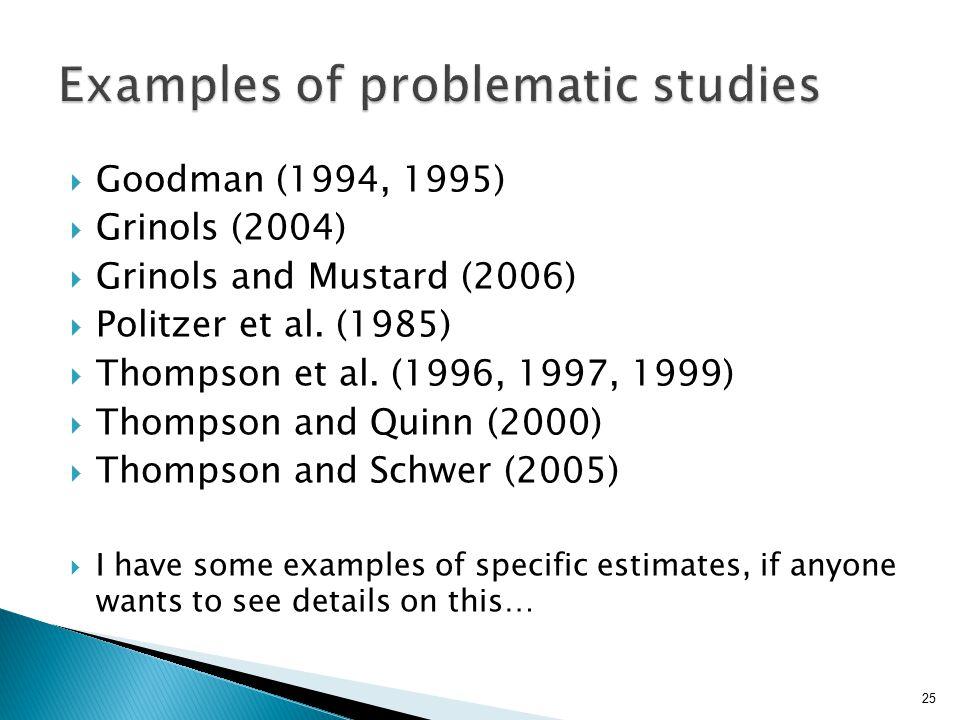  Goodman (1994, 1995)  Grinols (2004)  Grinols and Mustard (2006)  Politzer et al. (1985)  Thompson et al. (1996, 1997, 1999)  Thompson and Quin