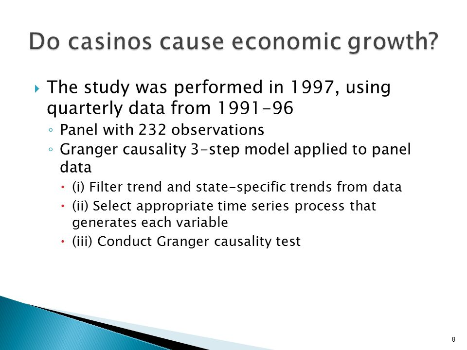  The study was performed in 1997, using quarterly data from 1991-96 ◦ Panel with 232 observations ◦ Granger causality 3-step model applied to panel data  (i) Filter trend and state-specific trends from data  (ii) Select appropriate time series process that generates each variable  (iii) Conduct Granger causality test 8