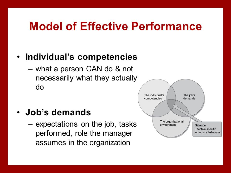 Model of Effective Performance Individual's competencies –what a person CAN do & not necessarily what they actually do Job's demands –expectations on the job, tasks performed, role the manager assumes in the organization